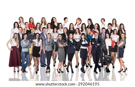 Large business team of different people isolated on white - stock photo