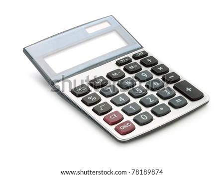 Large calculator. Isolated on white background - stock photo