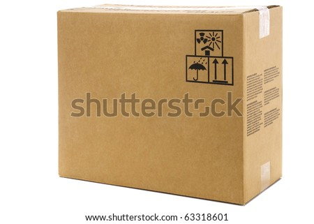 large cardboard box isolated on white background - stock photo