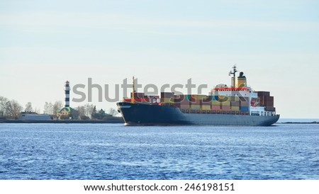 Large cargo container ship sailing. Riga, Latvia - stock photo