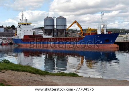 large cargo ship docked at wicklow harbour .wicklow town ireland