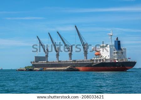 large cargo ship over the sea, thailand - stock photo