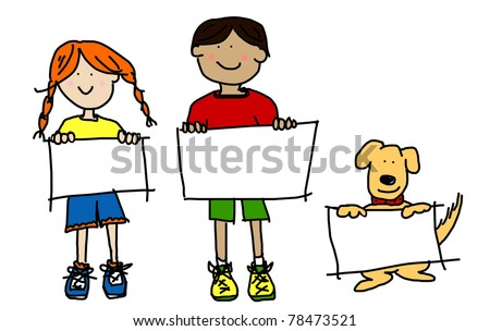 Large cartoon characters: simplistic and colorful line drawings of two smiling kids and their dog holding up blank poster board - stock photo