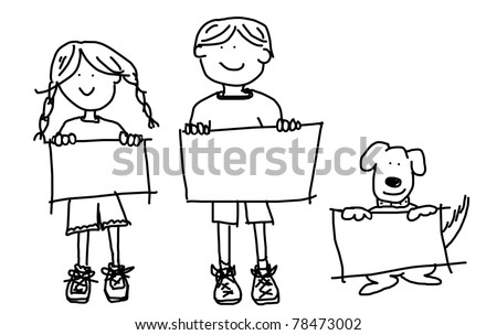 Large cartoon characters: simplistic black line drawings of two smiling kids and their dog holding up blank poster board - stock photo