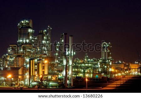 Large chemical production facility at night