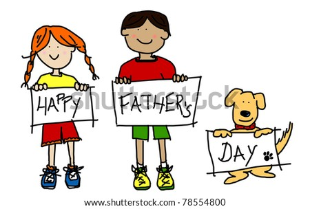 Large childlike cartoon characters: colorful line drawings of boy and girl kids and their dog holding up HAPPY FATHER'S DAY poster board - stock photo