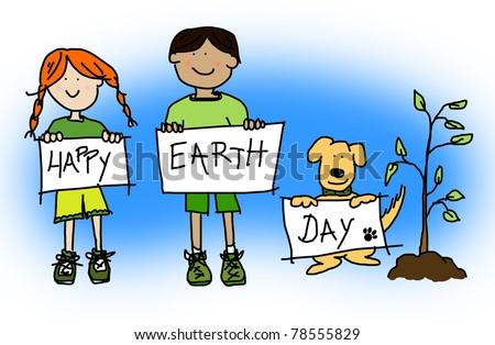 Large childlike cartoon characters: green or environmental concept with boy and girl kids and their dog holding up HAPPY EARTH DAY sign or placard. - stock photo