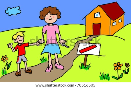 Large childlike cartoon characters: Mother and son happy in front of their new house with blank sign by the road - stock photo
