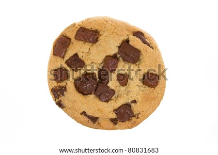 Large Chocolate Chip Cookie Isolated on a White Background - stock photo
