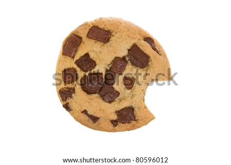 Large Chocolate Chip Cookie with Bite Eaten Isolated on a White Background - stock photo