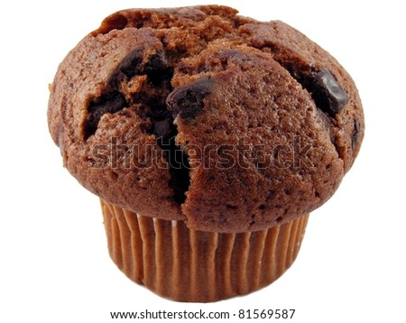 Large chocolate chip muffin on a white background - stock photo