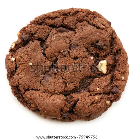Large chocolate fudge cookie, isolated on white. Overhead view. - stock photo
