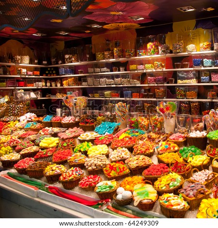 Large choice of sweets in a candy shop - stock photo