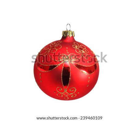 large Christmas ball in red isolated on white