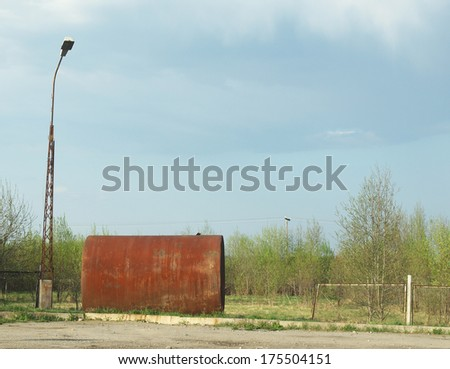 large cistern near the road - stock photo