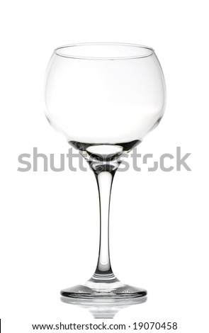 Large clear empty wineglass isolated against white