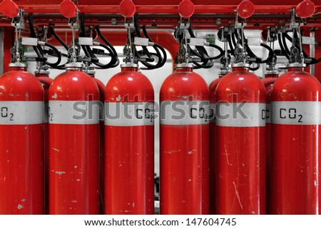 Large CO2 fire extinguishers in a thermal power plant - stock photo