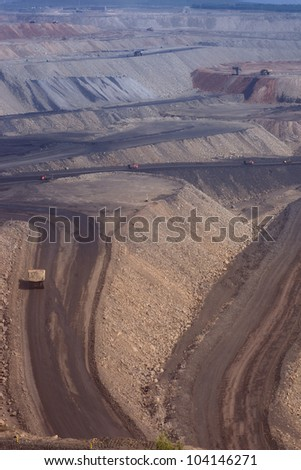 large coal mining site at Pingshuo,China - stock photo