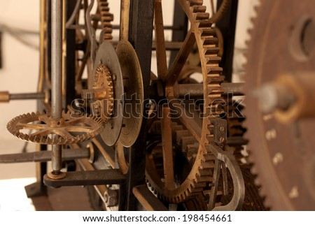 Large cog wheels in the clockwork  - stock photo