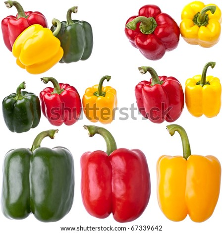 Large Collection of Bell Peppers, completely isolated on white - stock photo