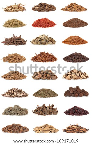 Large collection of chinese herbs used in alternative medicine isolated over white background. - stock photo