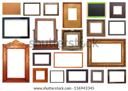 large collection of different types of wooden frames isolated on white background