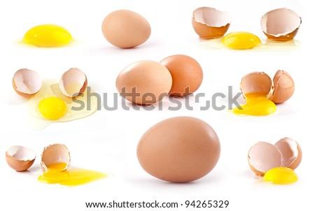 large collection of eggs on a white background, Close up - stock photo