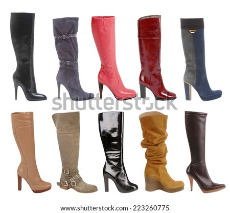 large collection of  fashion boots isolated on white - stock photo