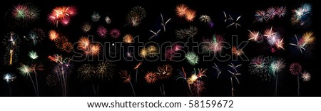 Large collection of Fireworks for celebrations - stock photo