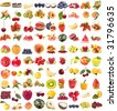large collection of fresh ripe fruits and berries single objects isolated on white background - stock photo