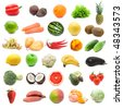 Large collection of fruits and vegetables isolated on white background, high resolution - stock photo