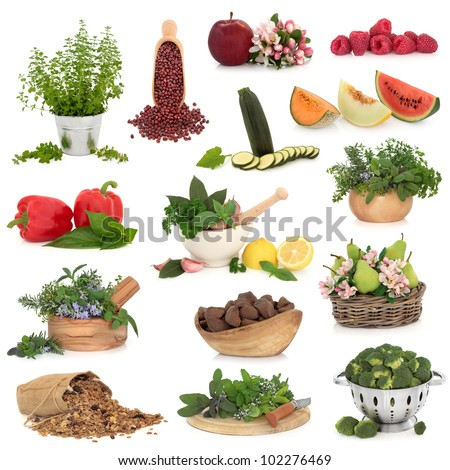 Large collection of healthy food high in antioxidants and vitamins isolated over white background. - stock photo