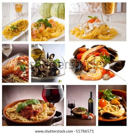 large collection of italian pasta recipe - stock photo