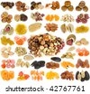 large collection of nuts, seeds and dried fruits isolated on a white background - stock photo