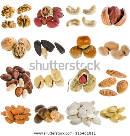 large collection of nuts, seeds isolated on a white background - stock photo