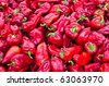 Large collection of red peppers at Egypt Bazaar (MisirCarsisi) in Istanbul, Turkey - stock photo