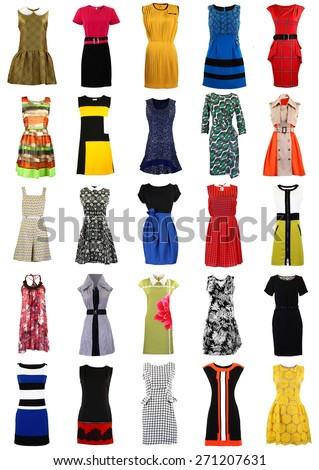 Large collection of stylish women dresses isolated on white (Invisible mannequin). - stock photo