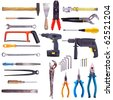 Large Collection Of Used Tools - Completely Isolated On White, Very High Detail. - stock photo