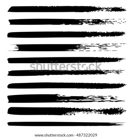Large collection or set of artistic black paint hand made creative brush strokes isolated on white background, metaphor to art, grunge or grungy, sketch, education or abstract design