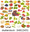 large collection set of tasty healthy food isolated on white background - stock photo