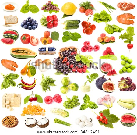 large collection set of tasty healthy food isolated on white background