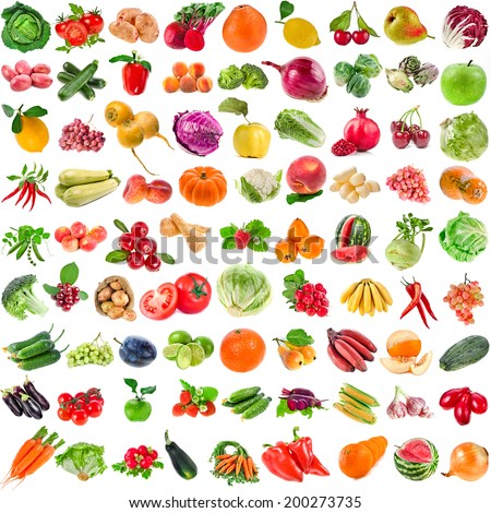 Large Collection set of Various Fresh Ripe Vegetables, Fruits, Berries close up isolated on white background - stock photo