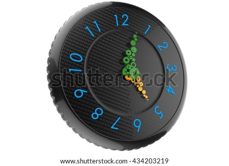 Large, colorful clock with green and yellow hands - 3D rendering