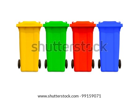 Large colorful trash cans (garbage bins) with wheel collection - stock photo