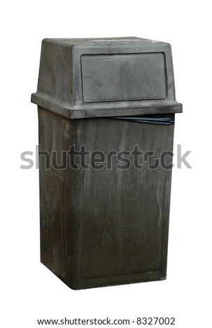 large commercial garbage bin isolated on white background - stock photo