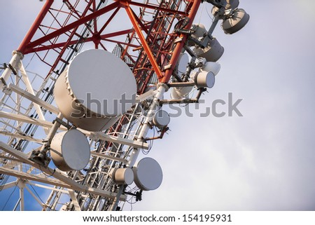 Large Communication tower against sky outdoors - stock photo