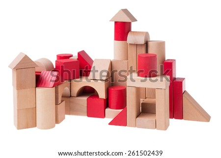 Large complex building made out of toy bricks - stock photo