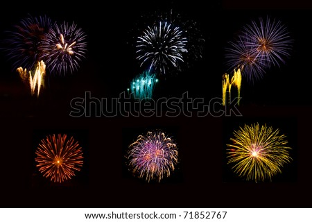 Large composite  of six different fireworks taken during an event in Italy, isolated on a black nighty background - stock photo