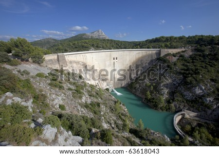 Large concrete hydroelectric dam in southern France - stock photo