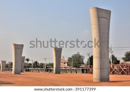 Large concrete pillar - stock photo